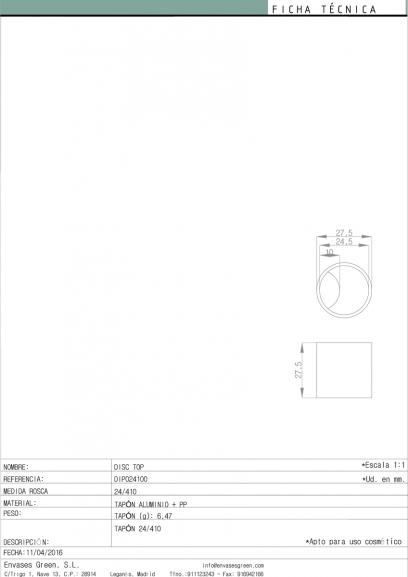 """Tapón Envase cosmético """"Disc-Top"""" Ref: DIP024100"""