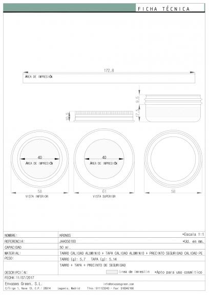 Ficha Técnica área impresión envase cosmética KRONOS JAA050100-1