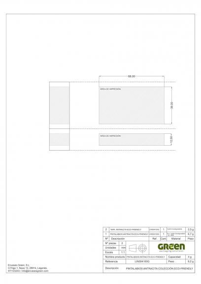 Ficha técnica área impresión envase cosmético ECO-FRIENDLY LIN004100G
