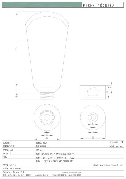 Ficha Técnica envase cosmética TERRA MOON TUP100101