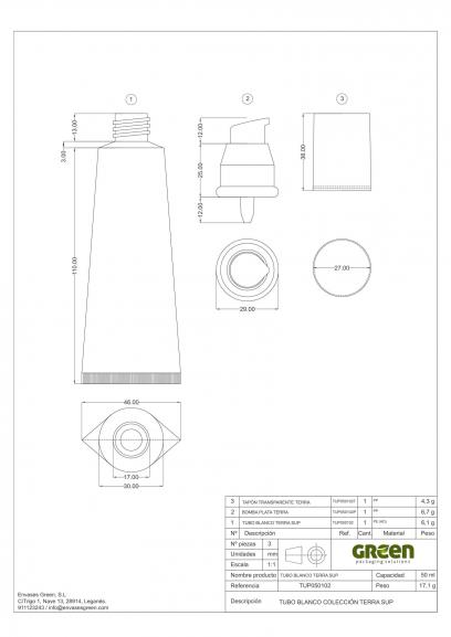 Ficha Técnica envase cosmética TERRA SUP 1 TUP050102