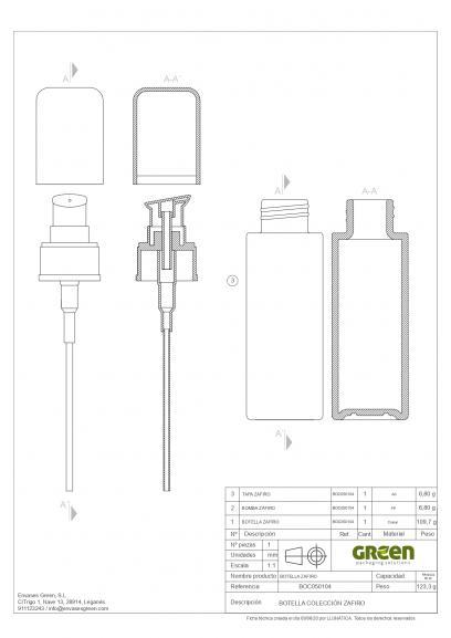 "Ficha tecnica ""Zafiro"" 50 ml. Ref:BOC050104 Botella dosificadora con bomba calidad Cristal Púrpura Protección UV"