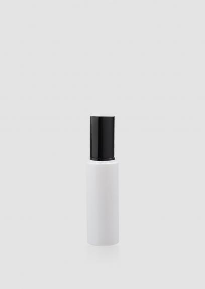 Envase cosmético London 50 ml. Botella dosificadora calidad Cristal Blanco con bomba en Negro