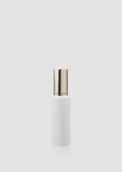 Envase cosmético London 50 ml. Botella dosificadora calidad Cristal Blanco con bomba Oro claro.
