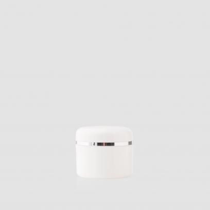 Envase cosmético Atenea Cinta Plata 50 ml. RefJAP060100 Tarro calidad PP Blanco con cinta plata