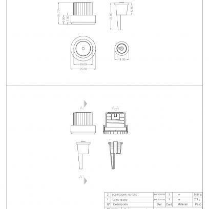 Ficha Técnica envase cosmética dosificador gotero + tapón AMBAR BOC030103 T+Z