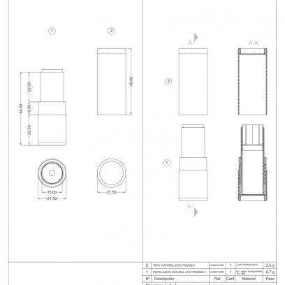 Ficha técnica envase cosmética ECO-FRIENDLY LIN004100N