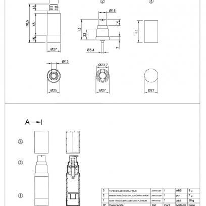 Ficha Técnica envase cosmética PLATINIUM AIP015102