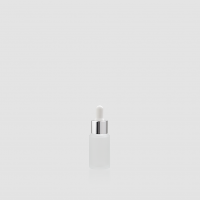 """Envase cosmético """"London"""" 15 ml. Botella dosificadora calidad Cristal Translúcido con cuentagotas Plata-Blanco"""
