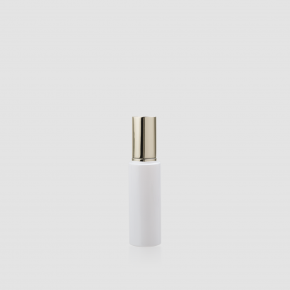 """Envase cosmético """"London"""" 50 ml. Botella calidad Cristal Blanco con bomba dosificadora y/o spray en Negro, Plata u Oro claro."""